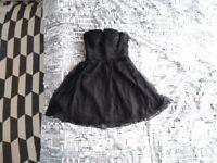 Brand new black tulle strapless prom cocktail dress