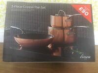Linea 3piece copper pan set RRP £220