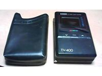 VINTAGE CASIO LCD POCKET COLOUR TV TV400 - WITH CASE. AND AERIAL
