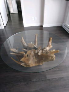 Beautiful Natural Wood & Glass Coffee Table