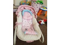Pink girls bouncer chair