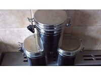 Stainless steel Tea, coffee and sugar storage set