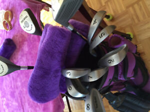 Women's right hand golf clubs and bag