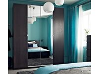 Large White IKEA Wardrobe with Mirror Doors (2m wide)
