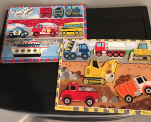 2 wooden Melissa and Doug puzzles