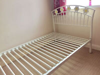 Argos children's white / ivory metal single bed frame with flowers for girls 2m long