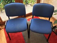 2 Blue office chairs