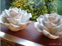 2 JOHN LEWIS heavy white china roses 13 x 8 cm