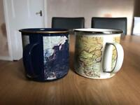 2 mugs with world map on originally from urban outfitters