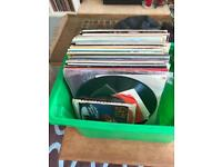 Box of vinyl records job lot