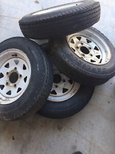 4- trailer rims and tires 5.30x12
