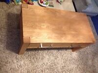 Oak veneer and partly oak coffee table with drawer