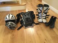 Moto Cross boots, helmet, body armour, goggles