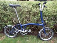Brompton Bike 2014 Blue Single Speed with mudguards - frequently serviced and excellent condition