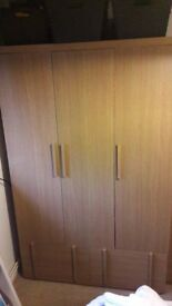 3 DOOR WARDROBE, 5 DRAWER CHEST, 2 X 2 DRAWER BEDSIDE TABLES