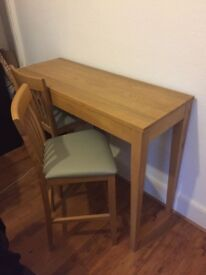 John Lewis wooden Breakfast Bar Table with 2 padded stools