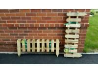 Wooden picket fence x6 panels