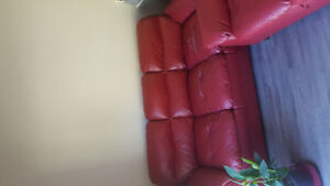 Red leather 3-seat sofa and loveseat set --- very comfortable!