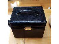 Black leather look jewellery box