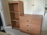 Hygena drawers and bookcase