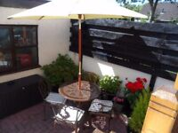 Metal Garden Table And Chairs With Cushions Tilting Parasol & Cast iron Parasol Stand