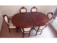 Italian Walnut Dining Table + 6 Cream Leather Chairs