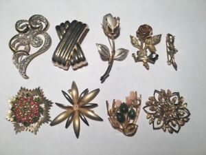 9 beautiful golden flower pin brooch accessories for $2 each