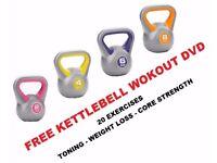 Kettlebell Set of 4 Kettelbell Weights Vinyl Kettlebell set 2kg-4kg-6kg-8kg Free DVD
