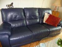 Midnight blue leather sofas