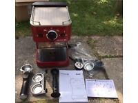 Red DUALIT Espressivo Coffee Machine with accessories & instructions