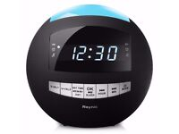 8-in-1 Bluetooth Alarm Clock Radio (Digital) Dual USB Charging Ports,FM Stereo,Dimmable LED Display