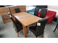 New Julian Bowen Astoria Extending Oak Dining Table & 6 Cuba Brown Faux Leather Chairs *CAN DELIVER*