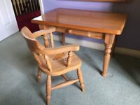 Childs wooden desk with drawer and chair (with hand painted stencilling)