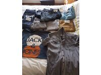 bundle of 9 pair of mens jeans and two tops