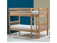 Wooden Bunk Bed With 2 Memory Foam Mattress