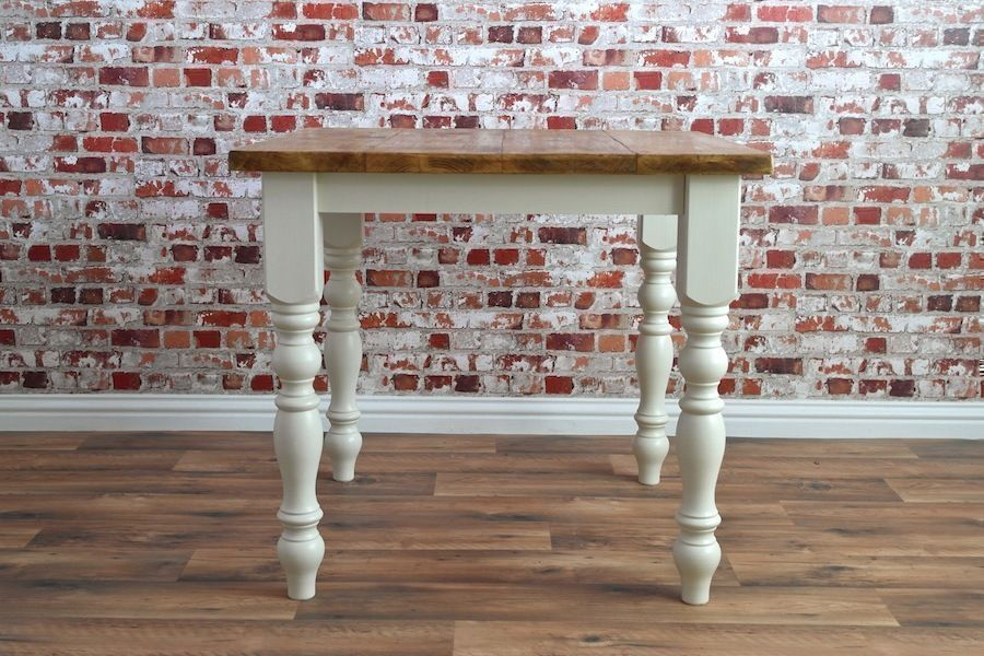 Pine Reclaimed Solid 3ft Square Table Turned Leg Painted Rustic Farmhouse Dining Kitchen