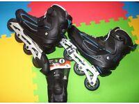 OXELO FIT 5 ADULTS INLINE SKATE SIZE UK 13 EU 46 + BLACK SKATEBOARD WRIST GUARD