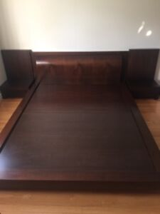 Queen size bedframe with 2 side tables