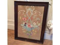 Vintage embroidered picture in frame