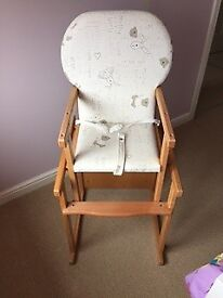 Wooden 'Nursery Time' padded high chair, converts to table and chair