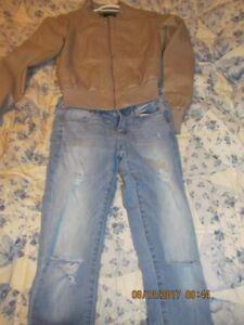 Lig)ht Brown leather jacket & distressed jeans (american eagle