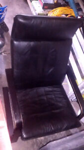 Ikea POANG chairs black leather