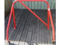 Classic Mini Safety Devices Roll cage red, with Diaganol