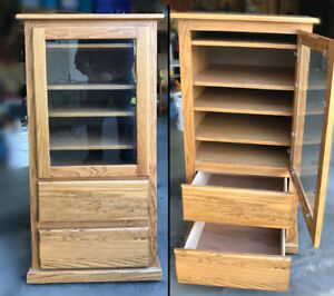Solid Oak Stereo/Display Cabinet