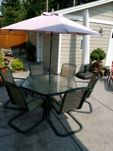 Large Patio Table, 6 chairs with umbrella and stand