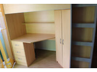 Children cabinbunk bed single, wardrobe, drawers, shelves with a mattress