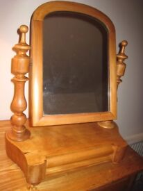 Antique Pine Dressing Table Mirror