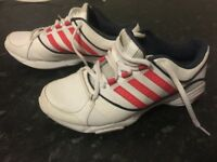 Hardly worn Adidas white trainers size 4