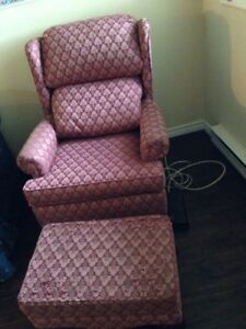 Burgundy/Pink Living Room Chair & Ottoman
