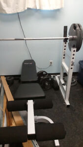 Weight Lifting Bench Bar and Weights